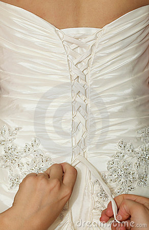 White wedding gown, corset lacing