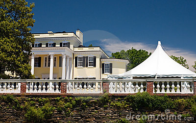 White wedding tent at mansion