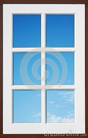 White window with blue sky