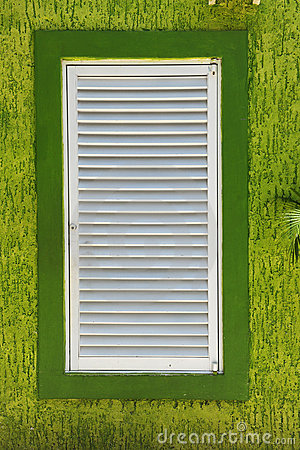 White Window on Green Textured Wall