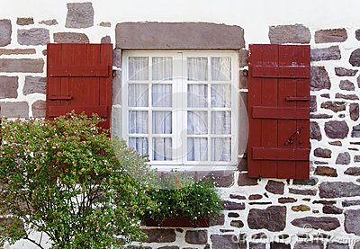 White window and red shutters