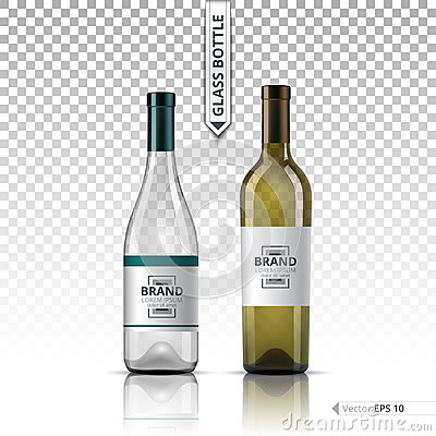 Free White Wine And Brandy Or Liquor Bottles Isolated On Transparent Background. Vector 3d Detailed Mock Up Set Illustration Stock Photography - 96090652