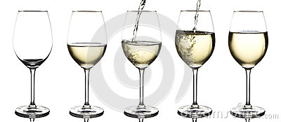 White wine being poured into an empty wine glass