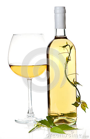 White wine bottle and glass.