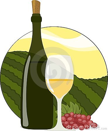 White Wine Bottle, Glass & Grapes