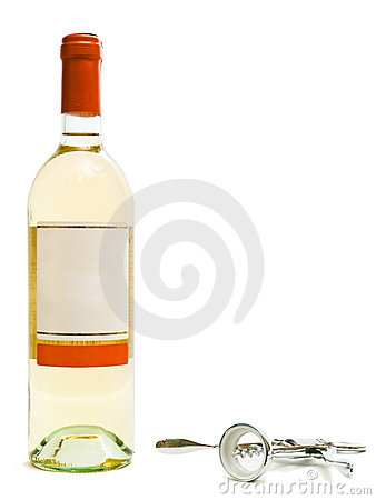White wine bottles with corkscrew