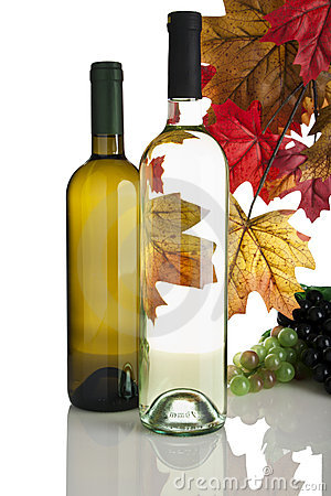 White wine bottles, grapes and fall leaves