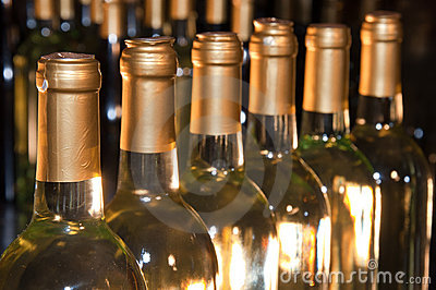 White Wine Bottles Lined-Up