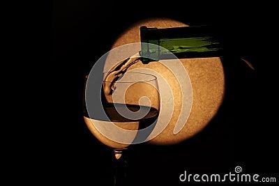 White wine and full moon