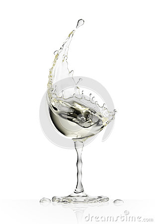 Free White Wine Glass On A White Background Stock Image - 91124231