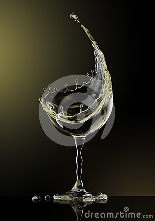 Free White Wine Glass On Black Background Stock Photography - 94940502