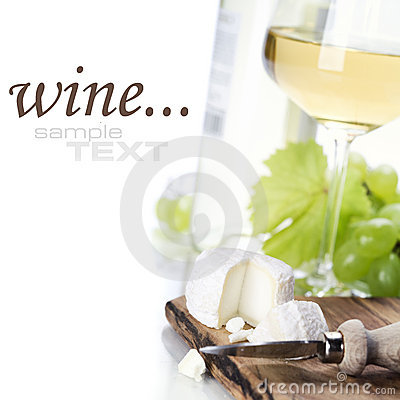 White wine, grape and cheese