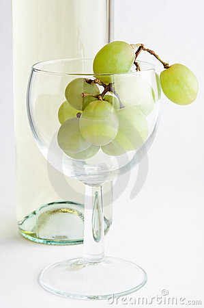 White Wine Grapes in Glass