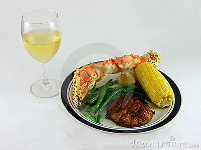 White Wine and King Crab Leg