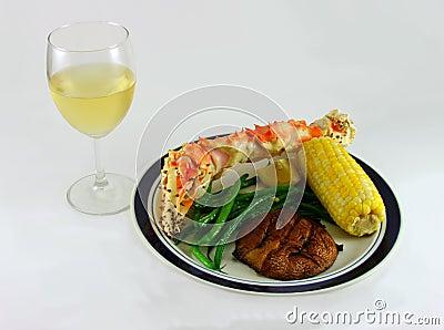 White Wine and King Crab Leg