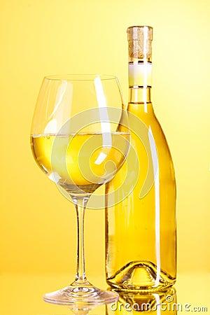 Free White Wine On Yellow Stock Image - 20023921