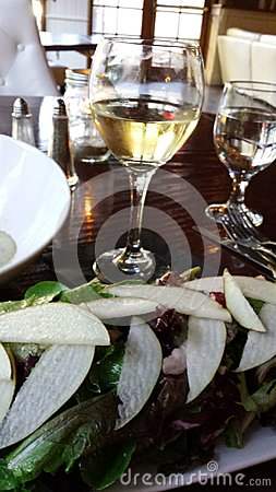 White wine and  pear salad