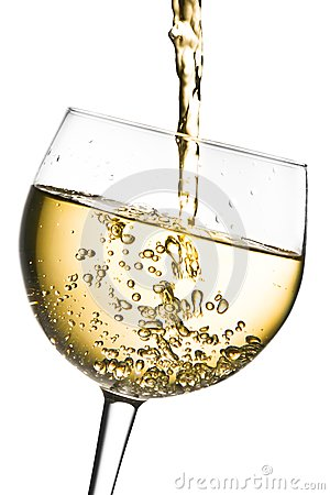 Free White Wine Pouring Into Glass Tilted With Space For Text Royalty Free Stock Photo - 32266705