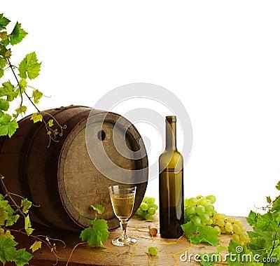 White wine still life with fresh vine