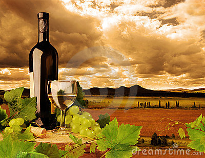 White wine and sunset landscape