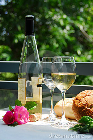 Free White Wine With Glasses Outside Stock Image - 909621