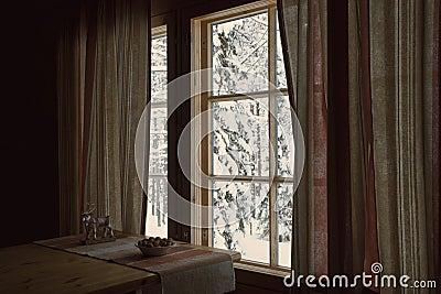 White winter behind a window