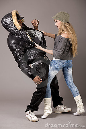 White woman fighting with her boyfriend