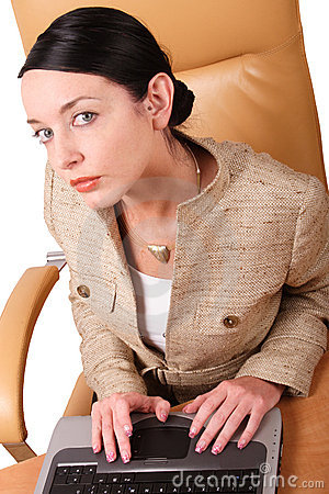 white woman working on laptop - smart business - isolated- close up