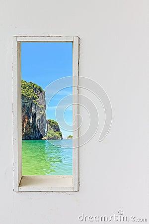 Free White Wood Wall Window With Sea Beach View. Stock Photo - 79026690