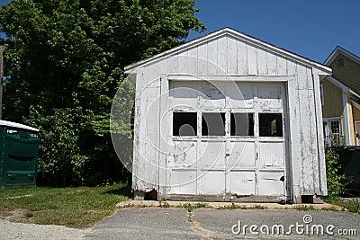 White wooden garage