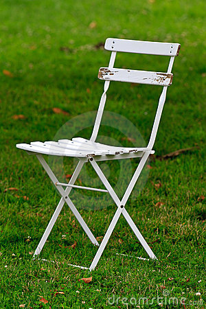 White wooden garden chair