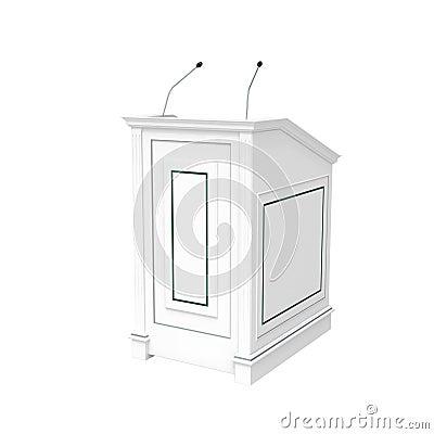 White wooden podium, half-turn isolated on white