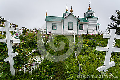 White wooden Russian Orthodox church in Alaska