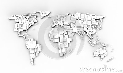 White World Map Stock Images - Image: 24693564