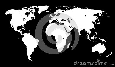 White world map on black