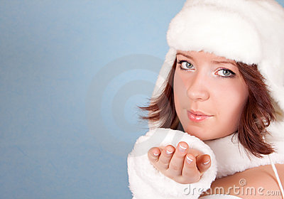 White xmas girl sending a kiss