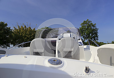White yacht cockpit