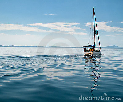 White yacht sailing on calm sea