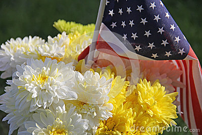 White Yellow Chrysanthemums and United States Flag