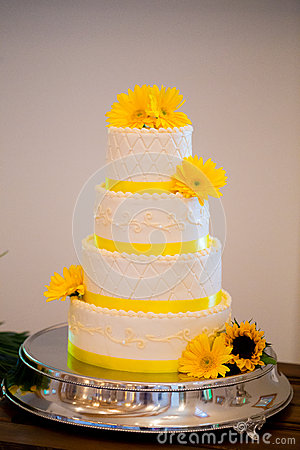 White and Yellow Wedding Reception Cake