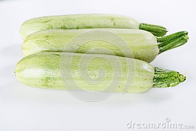 White zucchini isolated on white