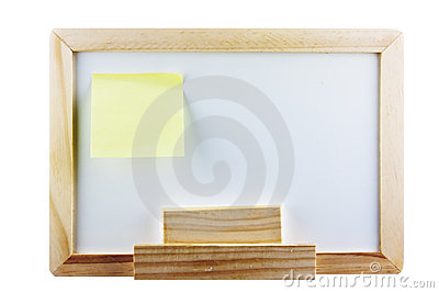 Whiteboard with post it note