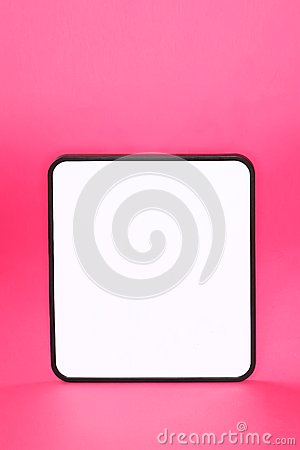 Whiteboard sign on pink background