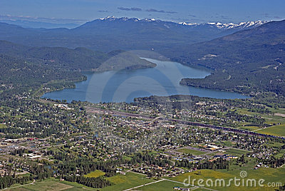 Aerial view of the town of Whitefish Montana in Western USA.