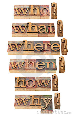 Free Who, What, Where, When, Why, How Questions Stock Photo - 18288680