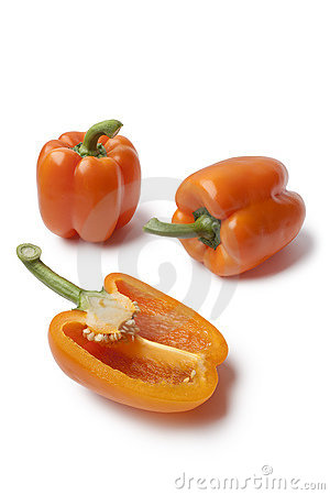 Free Whole And Half Orange Bell Peppers Stock Photo - 20176030