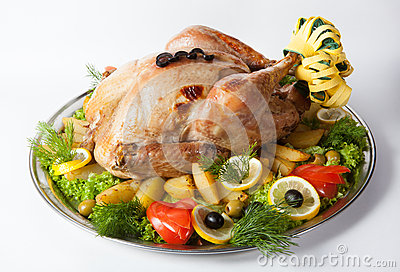 Whole baked turkey Stock Photo