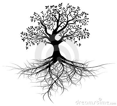 Free Whole Black Tree With Roots - Vector Stock Image - 23575931
