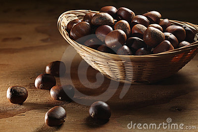 Whole chestnuts in basket