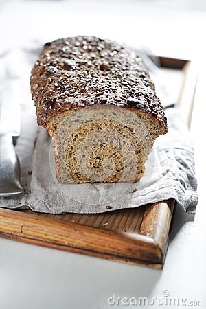 Free WHole Grain And Multi Seed Bread Loaf, Artisanal Sourdough Stock Photography - 67436442